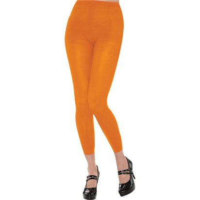 Orange Footless Tights - Women's Tights 10-14 front