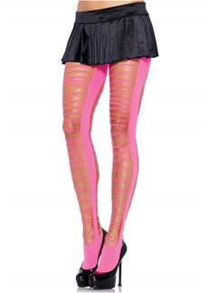 Pink Criss Cross Shredded Tights - Adult One Size