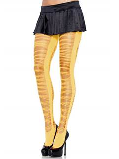 Yellow Criss Cross Shredded Tights - Adult One Size