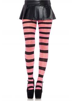 Pink & Black Fishnet Tights - Adult One Size