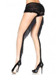 Sheer Nude Tights with Backseam Fringe - Adult Size M/L