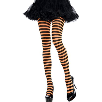 NEW WOMENS LADIES HALLOWEEN FANCY DRESS BLACK WHITE STRIPED TIGHTS PARTY