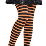 Orange & Black Striped Tights - Child One Size