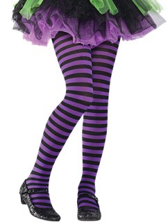 Purple & Black Striped Tights - Child One Size