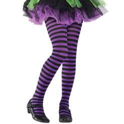 Black & Purple Striped Tights - Child One Size
