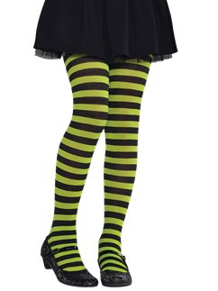 Green & Black Striped Tights - Child One Size
