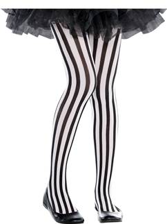 Black & White Vertical Striped Tights - Child 6-8 Years