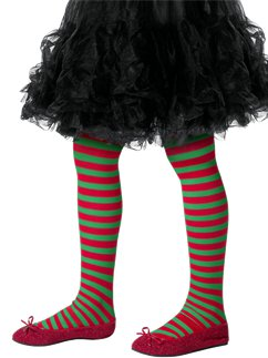 Green & Red Striped Tights - Child 8-12yrs