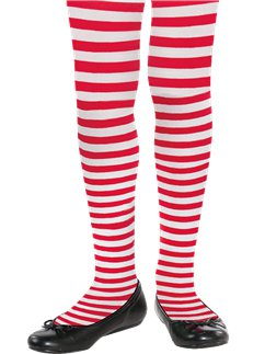 Red & White Striped Tights - Child 6-12yrs