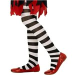 Black & White Striped Tights - Child 6-12yrs