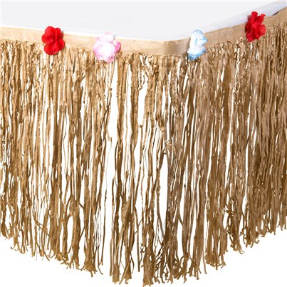 Natural Tissue Table Skirt - 3m Hawaiian Decoration