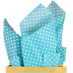 Robins Egg Blue Polka Dot Tissue Paper - 50cm