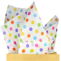Multi Coloured Dot Tissue Paper - 50cm