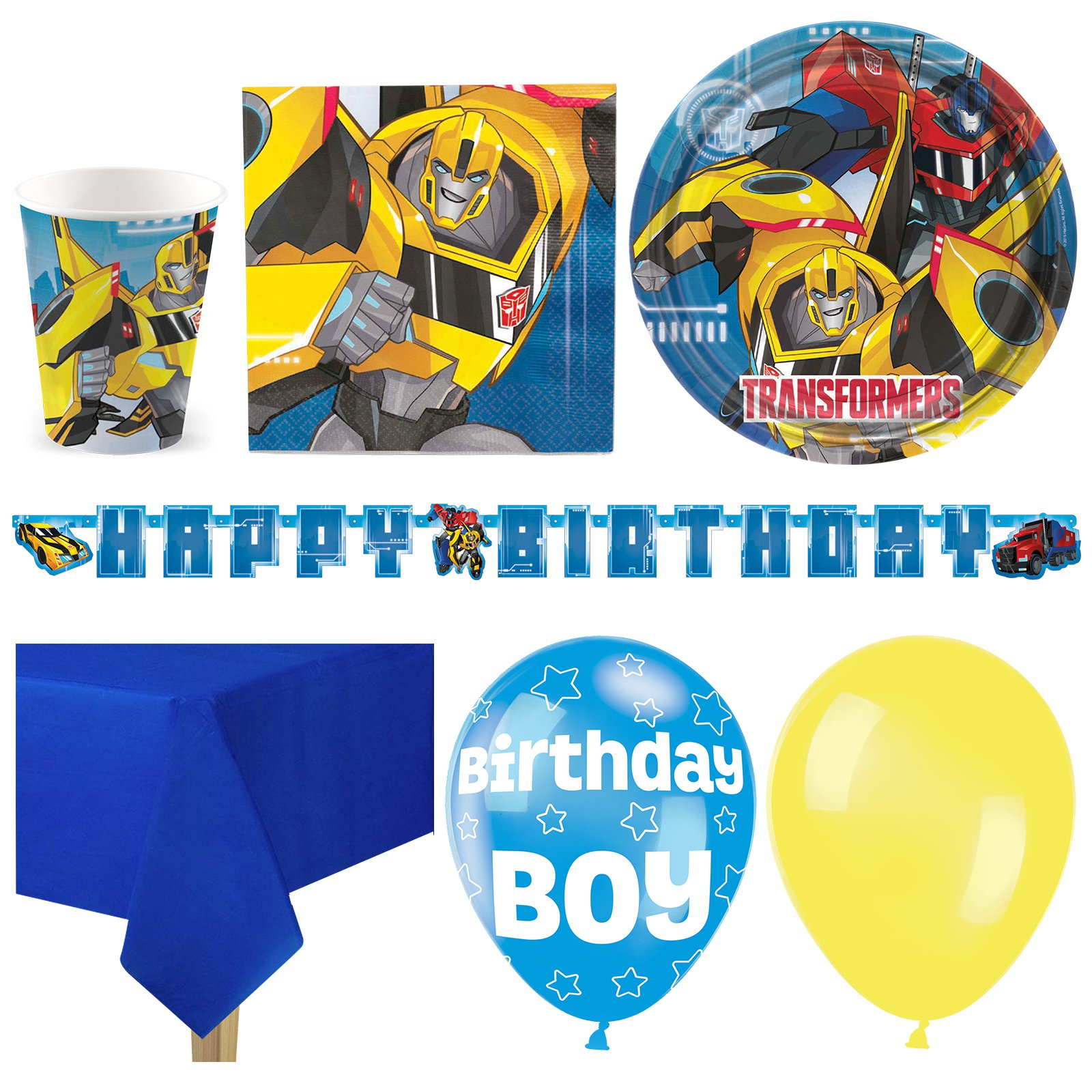 Transformers-Kids-Birthday-Party-Pack-Tableware-Kits-For-8-or-16-Guests