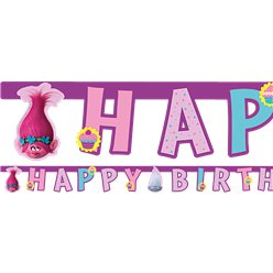 Trolls Happy Birthday Letter Banner - 1.9m