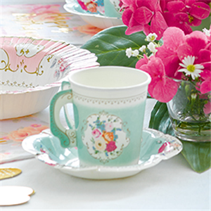 Vintage Tea Party Paper Cups with Saucers