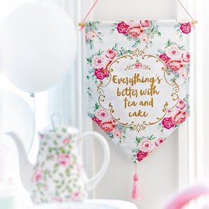 Vintage Tea Party Fabric Hanging Sign - 38cm