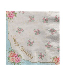 'Happy Birthday' Vintage Napkins - 33cm