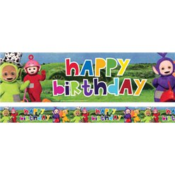 Teletubbies Holographic Happy Birthday Banner - 2.7m