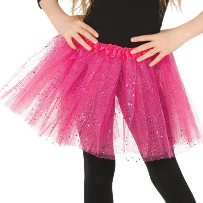 Child Pink Glitter Tutu - Girl's Tutu Skirt Fancy Dress Ballet Tutu - Kids One Size front