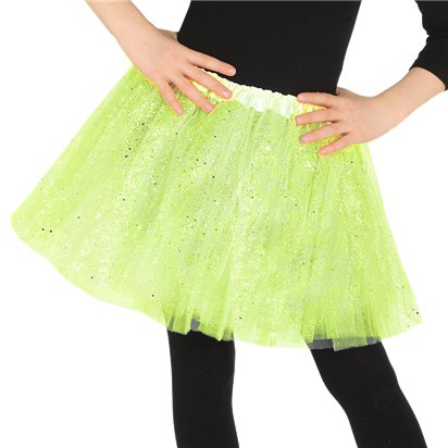 Child Green Glitter Tutu - Girl's Tutu Skirt Fancy Dress Ballet Tutu - Kids One Size front