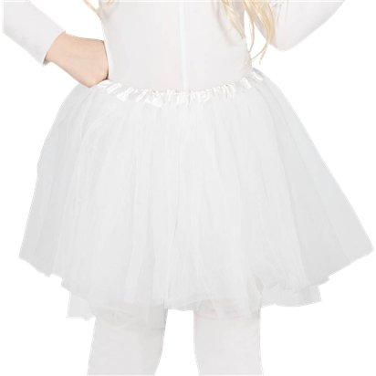 Child White Tutu - Girl's Tutu Skirt Fancy Dress Ballet Tutu - Kids One Size front