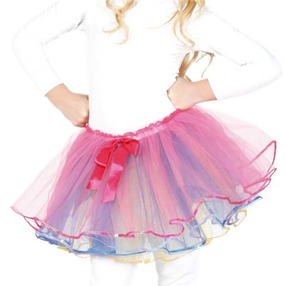 Child Rainbow Tutu with Pink Bow - Girl's Tutu Skirt Fancy Dress Ballet Tutu - Kids One Size front