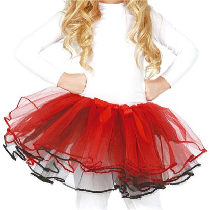 Child Red & White Tutu with Bow - Girl's Tutu Skirt Fancy Dress Ballet Tutu - Kids One Size front