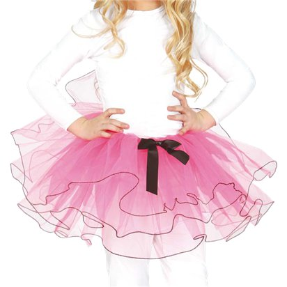 Child Pink Tutu with Bow - Girl's Tutu Skirt Fancy Dress Ballet Tutu - Kids One Size front