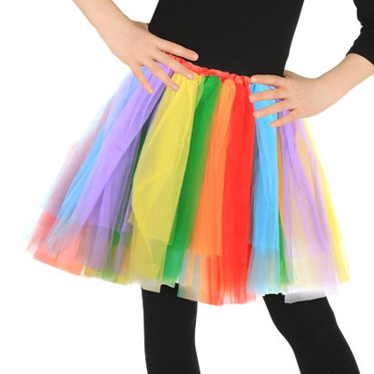 Rainbow Tutu Skirt - Girl's Tutu Fancy Dress Costume - Kids One Size  front