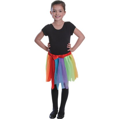 Rainbow Tutu Skirt - Girl's Tutu Fancy Dress Costume - Kids One Size  left