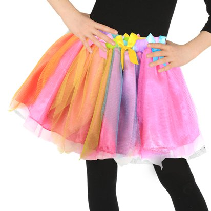 Rainbow Fairy Tutu Skirt - Girl's Tutu Fancy Dress Costume - Kids One Size  front