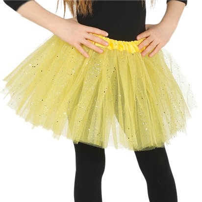 Yellow Sparkle Tutu - Girls Fancy Dress Costume Accessories - Child One Size front