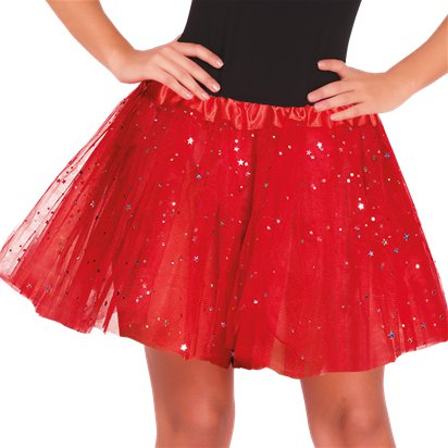 Red Glitter Tutu - Womens Halloween Fancy Dress Costume Accessories - Adult One Size front