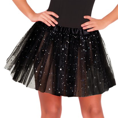 Black Glitter Tutu - Womens Halloween Fancy Dress Costume Accessories - Adult One Size front