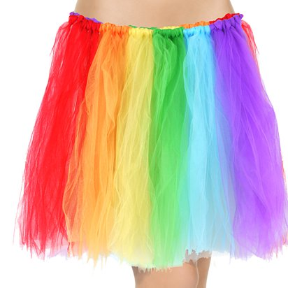 Pride Rainbow Tutu - Womens 80's Fancy Dress Costume Accessories front