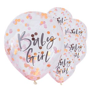 Twinkle Twinkle Baby Girl Pink Confetti Balloons - 12