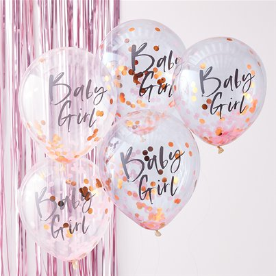 "Twinkle Twinkle Baby Girl Pink Confetti Balloons - 12"" Latex"