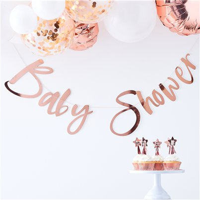 Twinkle Twinkle Baby Shower Rose Gold Banner - 1.5m