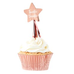 Twinkle Twinkle Rose Gold Star Cupcake Toppers - 12cm