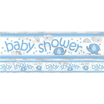 Umbrellaphants Blue Baby Shower Party Foil Banner - 3.7m