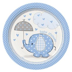 Umbrellaphants Blue Party Paper Dessert Plates 17cm