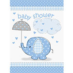 Umbrellaphants Blue Party Invitation Cards