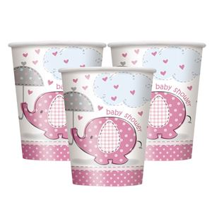 Umbrellaphants Pink Party Paper Cups 9oz