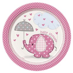 Umbrellaphants Pink Party Paper Dessert Plates 17cm