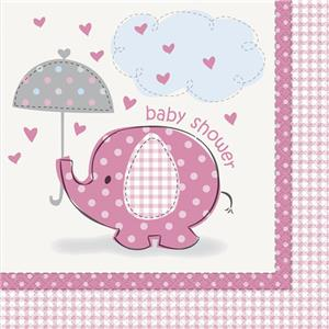 Umbrellaphants Pink Party Paper Luncheon Napkins 2ply