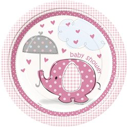 Umbrellaphants Pink Party Paper Plates 23cm