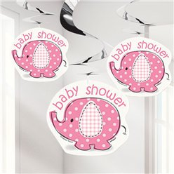 Umbrellaphants Pink Party Hanging Swirl Decorations - 91cm