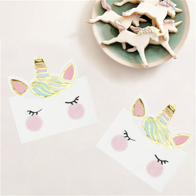 We Heart Unicorn Shaped Paper Napkins