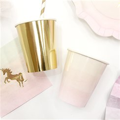 We Heart Unicorn Gold & Pink Paper Cups - 255ml